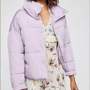 Free People Puffer Jacket Lavender Snap Front L